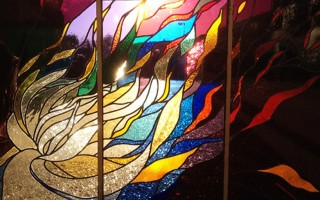 Meteor 2012 Stained glass triptych, 1x2m