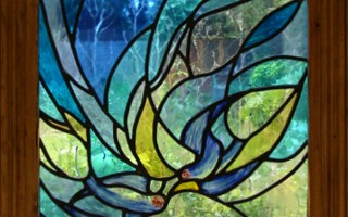 French Swallows; first of two stained glass windows