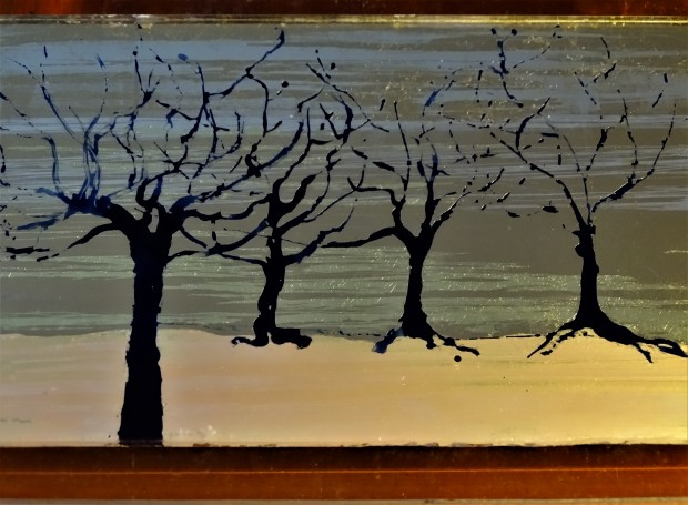 Blue trees; small stained glass verre eglomise panel; white, moon & lemon gold, 12x20cm, POA