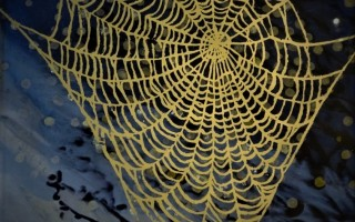 Night Web, verre eglomise tile with 23.5 carat yellow gold and white gold; 18x18cm; POA